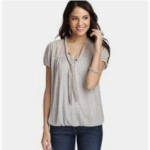Ann Taylor Tie Front V-Neck Short Sleeve Print Top